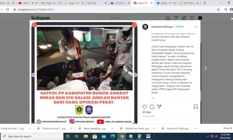 Satpol PP Kabupaten Bogor menyita minuman keras